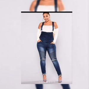 Fashion Nova All Over Me Overalls Light Denim 1X